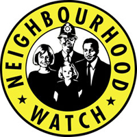 Neighbourhood Watch Logo, yellow circle with NEIGHBOURHOOD WATCH written inside it, and a black and white image of a woman, man, girl, and male police officer in the middle
